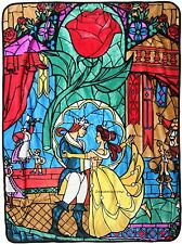 "LICENSED DISNEY BEAUTY AND THE BEAST PLUSH ""STAINED GLASS"" THROW BLANKET"
