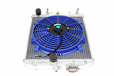 92-95 Honda Civic EG EJ EH 2/3/4 Aluminum Radiator Automatic+ Blue Fan SOHC DOHC