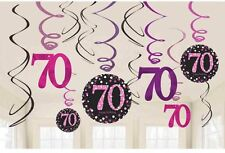 12 x 70th Birthday Hanging Swirls Black & Pinks Party Decorations Age 70 Party