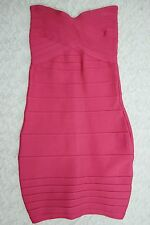 HERVE LEGER pink strapless stretch bodycon bandage dress size XS EUC