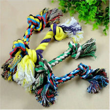 Lovely Pet Puppy Dog Chewing Knot Toy Cotton Braided Bone Rope Colorful