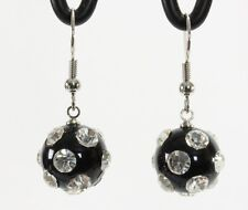 "Lucite clear rhinestone studded disco ball dangle drop earrings black 1.5"" long"