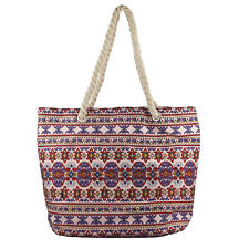 Lux Accessories Womens Extra Large Zip Up Beach Tote Bag Persian Multi