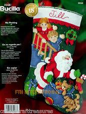 """Bucilla No Peeking ~ 18"""" Felt Christmas Stocking Kit #85268 Santa, Boy Girl, Dog"""