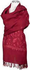 Schal,  handbestickt,Bordeaux, Weinrot 100% Wolle wool scarf handembroidered
