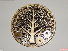 steampunk badge brooch tree of life clockwork watch parts cogs gearwheels