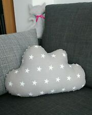 Cloud shape cushion pillow nursery kids bedroom gray stars cotton gift Christmas