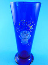 "Cobalt Blue 7"" Tall Glass Doraemon Cat Fujiko Japan 35th celebration"