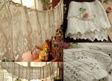 "12x200"" LONG HAND Crochet Vtg Lace Valance Curtain French Chic White Cotton RARE"
