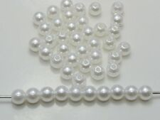 200 pcs 8mm Plastic Faux Pearl Round Beads Pure White Imitation Pear