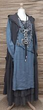LAGENLOOK LAYERING 3 PCS DRESS+CARDIGAN+PETTICOAT*BLUE/ANTHRACITE*BUST UP TO 50""