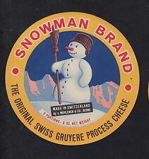 Ancienne  étiquette Fromage  Suisse BN10297 Bonhomme de neige 3