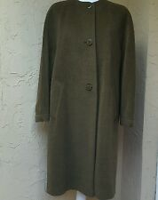 VTG JOAN & DAVID Olive Green Italy Wool Cashmere Blend Lined Long Coat Sz 44/10