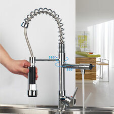 Chrome Kitchen Swivel Spout Single Handle Sink Faucet Pull Down Spray Mixer US Y