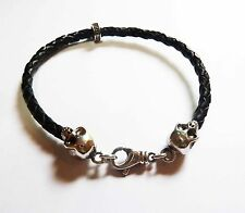 KING BABY THIN BRAIDED LEATHER SKULL BRACELET - NEW