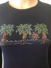 Fashion 70'S Thermal Cotton Blend Shity Shiny Beads Palm Trees Designer Fashion