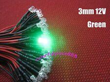 10pcs, 3mm Green 9V 12V DC Round Pre-Wired Water Clear LED Leds Light 20CM New
