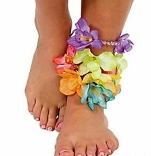 12 Beaded Hibiscus Flower Lei Anklets ~Tropical Beach Luau Party Favor~
