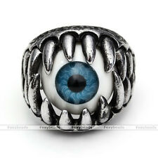 1X Mens Punk Cool Turkey's Eyes Blue Evil Eye Ball Ring Monster Biker Jewelry fb