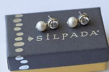 Silpada Cubic Zirconia Pearl Sterling Silver Filigree Post Stud Earrings RARE