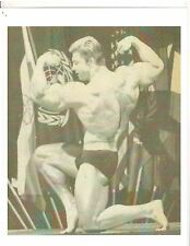 Larry Scott at 1966 Mr Olympia Double Bis with back pose bodybuilding Photo B&W