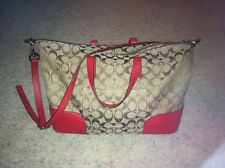 GENUINE COACH HADLEY SIGNATURE SATCHEL F31841 Khaki Red Xbody Handbag, nice!!!
