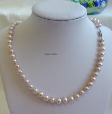 Genuine Silver 6.5-7mm outstadining 5A near round freshwater pearls necklace PPL