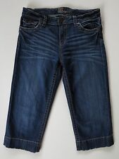 Kut from the Kloth Slouch Distressed Blue Stretch Denim Cropped Capris Jeans 6