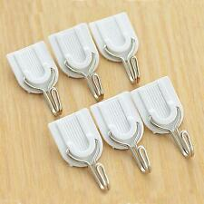 6Pcs Kitchen Bathroom Door Wall Hanger Holder White Adhesive Strong Sticky Hooks