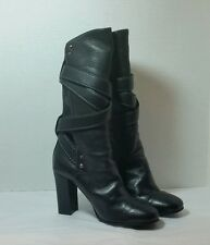 Chloé Mid-Calf High Heel Black Leather Buckled Boots Size 37