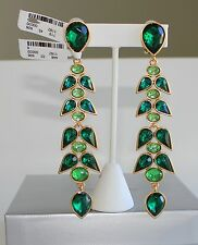 OSCAR DE LA RENTA Wisteria Crystal Drop Earrings Emerald Green NEW $350