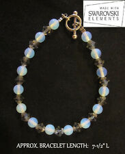 Moonstone &  Black Diamond Crystal Bracelet *BLACK ICE* Handmade with Swarovski