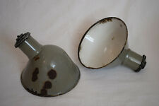 "PAIR ORIGINAL 1940s PARABOLIC 9.5"" GREY ENAMEL INDUSTRIAL FACTORY LIGHT SHADES"