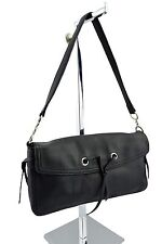 $220 DKNY Black Leather Women's Baguette Pochette Evening Shoulder Bag
