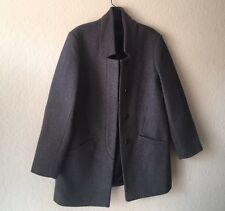 GRAY WOOL PEA COAT ZARA
