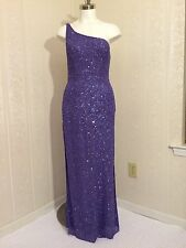 NWT Sexy Scala Sequin One Shoulder Beaded Purple Silk Holiday Party Dress Large