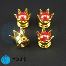 2 Pcs Crowns Dust cap in Gold with red Pearl for motorcycle - BMW Suzuki