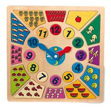 """Lernuhr """"Kunterbunt"""" Holz Uhr lernen Zahlen Puzzle rechnen Kinder Lernspiel NEU"""
