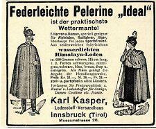 Karl Kasper Lodenstoff-Versandhaus Innsbruck Tirol Ad 1910