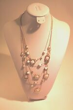 M. Haskell Gold Tone White Bead 5 row Layered Illusion Necklace