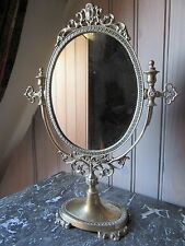 SUPERB FRENCH VINTAGE BRASS CLASSIC STYLE VANITY TABLE TOP MIRROR