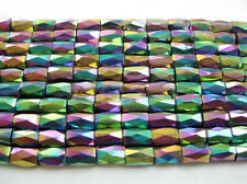 50Pcs 5x8mm Multicolor Natural Magnetic Hematite Gemstone Faceted Tube Beads