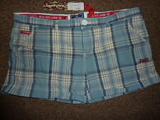 Superdry blue white check shorts Size 14 Large New Washbasket Boyshort RRP £38
