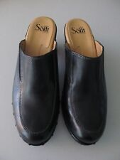Womens Sofft black leather studded slip on heeled clogs mules sz 10M Very nice!
