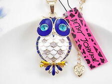 Betsey Johnson cute inlaid Crystal blue owl pendant necklace # F203