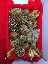 Vintage Gold Themed Christmas Ornament Tree Decoration Lot Of 22 Kj111316