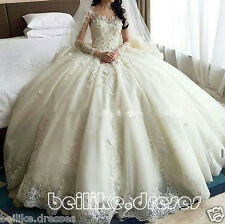 Sheer Long Sleeve Lace Princess Wedding Dresses Bridal Gown Custom Size 2-28+