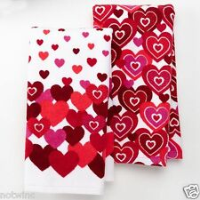 2 Pc Set Happy Valentine's Day Holiday Kitchen Towels Magnitude of Hearts NEW