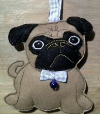 HOMEMADE FELT  PUG DOG BLUE BOW AND HANGER  DECORATION  ORNAMENTS GIFTS