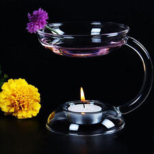 Glass Candlestick Candle Holder Aroma Oil Burner Warmer Stove Hold Tealight